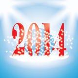 2014个新年与雪花的例证在蓝色背景 图库摄影