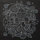 2016个新年乱画元素背景 向量 库存例证