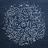 2016个新年手字法和乱画元素 库存例证