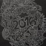 2016个新年手字法和乱画元素 向量例证