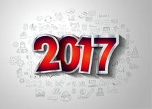 2017个新年Infographic和您的飞行物的经营计划背景 免版税库存照片