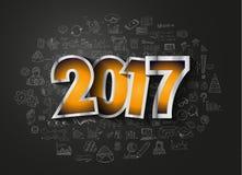 2017个新年Infographic和您的飞行物的经营计划背景 库存照片