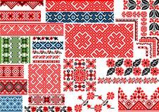 30个无缝的种族样式的汇集刺绣针的 向量例证