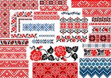 30个无缝的种族样式的汇集刺绣针的 免版税库存照片