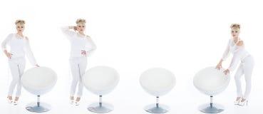 整个时髦的女人白色拼贴画的 免版税库存图片