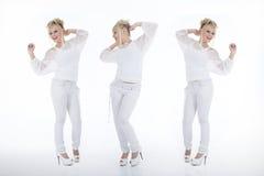 整个时髦的女人白色拼贴画的 库存照片