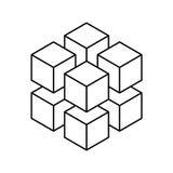 8个更小的等量立方体几何立方体  抽象设计要素 科学或建筑概念 黑概述3D 库存例证