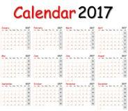 12个月日历2017年 图库摄影