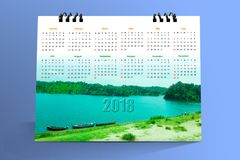 12个月桌面日历设计2018年 库存图片