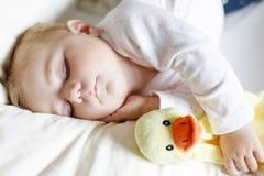 6个月的逗人喜爱的可爱的女婴睡觉平安在床上 库存照片