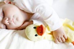 6个月的逗人喜爱的可爱的女婴睡觉平安在床上 免版税图库摄影
