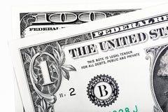 1个末端细节100美金,隔绝在白色 免版税库存照片