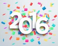 2016个标题庆祝与3d下落阴影设计1的五彩纸屑传染媒介 库存照片