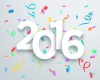 2016个标题庆祝与3d下落阴影设计2的五彩纸屑传染媒介 库存图片