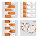 4个桔子颜色模板/图表或网站布局的汇集 向量背景 库存图片