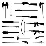 18个武器象 中世纪和现代 平的传染媒介例证 库存图片