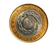2个比索硬币,阿根廷的银行 扭转, 2011年 图库摄影