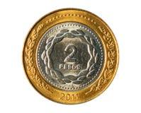 2个比索硬币,阿根廷的银行 正面, 2011年 库存照片