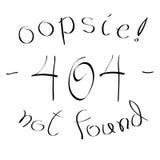 404个没被找到的错误手书面标志/消息,传染媒介例证 免版税库存照片