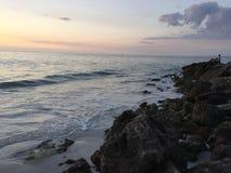 2个海滩日落 免版税图库摄影