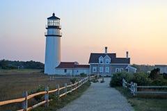1816个烽火台鳕鱼被设立的第一座有历史的轻的灯塔马萨诸塞一个点种族转动的rubblestone第三个塔是 库存图片