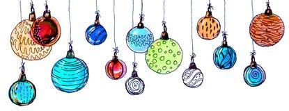 2007个球圣诞节年 水彩,孤立 库存照片