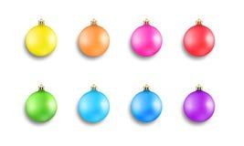 2007个球圣诞节年 设置五颜六色的现实Xmas球装饰 库存例证