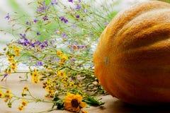 整个瓜,葫芦科家庭的植物,与在土气木桌上的五颜六色的野花 免版税图库摄影