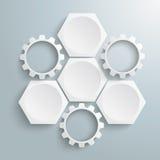 3个白色六角形3齿轮周期 免版税库存照片