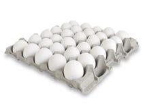 30个白鸡蛋 图库摄影