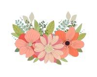 1个看板卡邀请 设置美丽的花和叶子 手拉的向量例证 背景查出的白色 库存例证