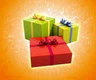 3个礼物盒关闭  免版税库存照片
