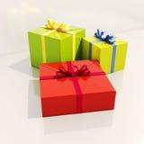 3个礼物盒关闭  库存图片
