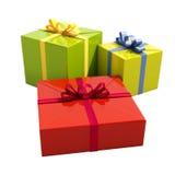 3个礼物盒关闭  免版税库存图片