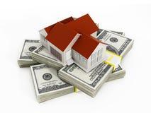 100个票据概念美元房子做抵押 免版税库存照片
