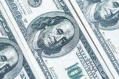 100个票据美元货币堆 免版税库存图片