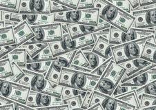 100个票据美元货币堆 库存照片
