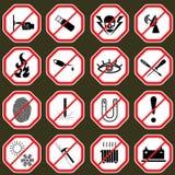 16个禁止标志,设置了例证 免版税库存图片