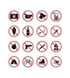 16个禁止的标志象 免版税库存照片