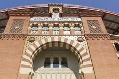 1900个竞技场巴塞罗那斗牛场卡塔龙尼亚在传统6月las mudejar博物馆新新的被开张的广场岩石卷购物西班牙西班牙方形样式的toros里面的中心de 巴塞罗那 免版税图库摄影