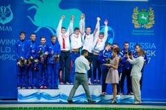31 07 2017年- 07 08 2017个第15个Finswimming世界小辈冠军|托木斯克 图库摄影