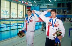31 07 2017年- 07 08 2017个第15个Finswimming世界小辈冠军|托木斯克 免版税库存图片