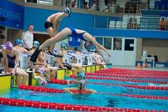 31 07 2017年- 07 08 2017个第15个Finswimming世界小辈冠军|托木斯克 免版税图库摄影
