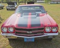 1970个红色黑雪佛兰Chevelle SS正面图 免版税库存图片