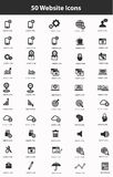 50个网站象集合,黑版本 免版税库存照片
