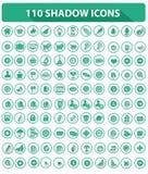 110个网站象,优质,阴影样式,绿色  免版税库存图片