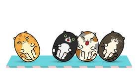 4个肥胖猫翻转者玩偶 免版税图库摄影