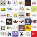 36个自由商标大组装-商标模板 库存照片