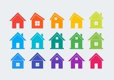 15个色的房子象 免版税库存图片