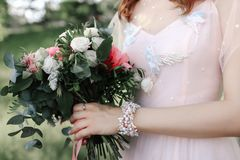 1个花束新娘婚礼 库存图片